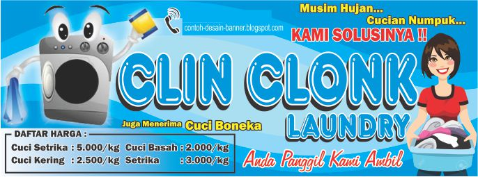 Desain Spanduk Laundry Clin Clonk