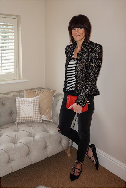 My Midlife Fashion, Studded flat ballet shoes, stripes, monochrome, mango, boucle jacket, distressed cigarette jeans, leather quilted bag