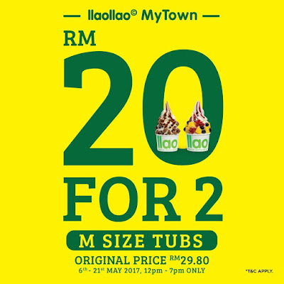 llaollao Malaysia M Size Tubs Discount Promo MyTown Cheras