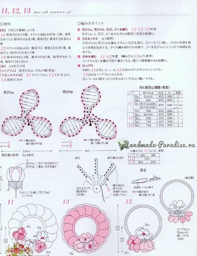 Схемы вязания резиночек с цветами (3)