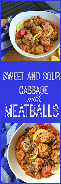 Sweet and Sour Cabbage with Meatballs is also called unstuffed cabbage. All will love these simple meatballs that are cooked in this sweet and sour cabbage soup. This is a dish I never thought I would like but now am so totally in love! #cabbage #meatballs #soup www.thisishowicook.com