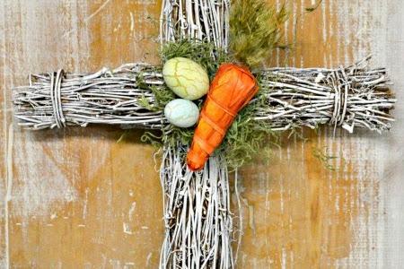 Grapevine Easter Cross Wreath