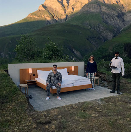 Null Stern Outdoor Hotel With Comfortable Bed No Walls And Roof Located In Safiental Countryside Grisons Switzerland