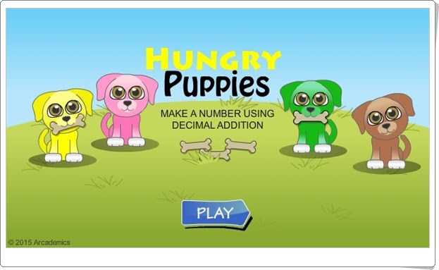 """""""Cachorros hambrientos"""" (Juego de Suma de Números Decimales)"""
