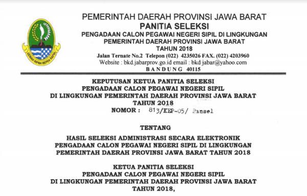 Pengumuman Seleksi Administrasi CPNS Pemprov JABAR  Pengumuman Seleksi Administrasi CPNS Pemprov JABAR 2018