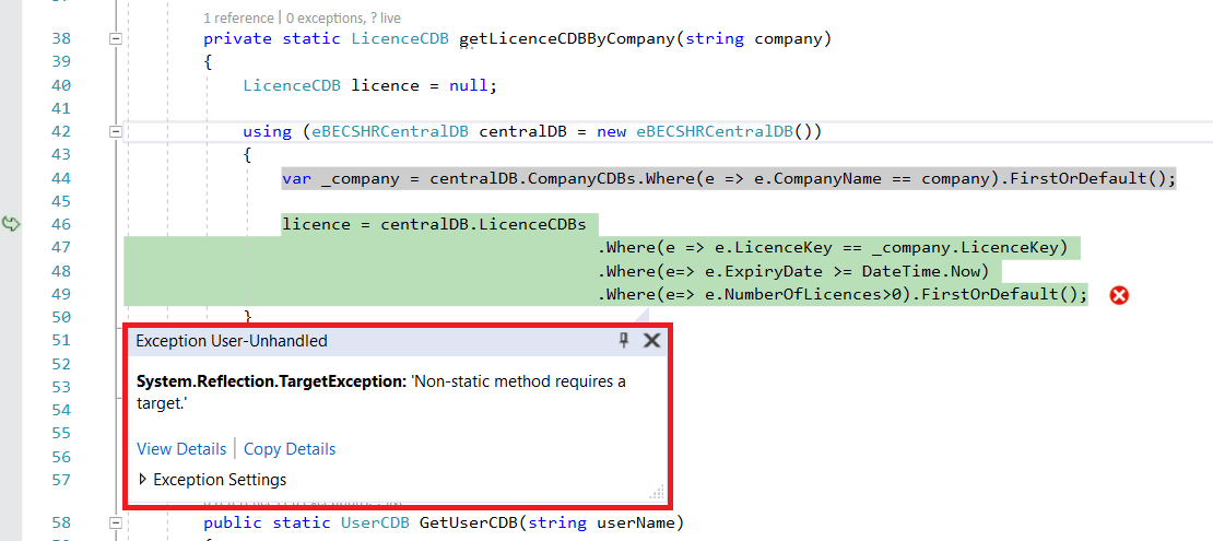 System Reflection TargetException: 'Non-static method requires a