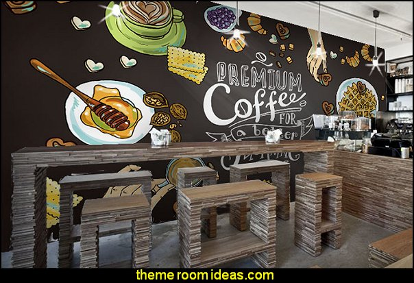 blackboard wallpaper mural kitchen bistro cafe style