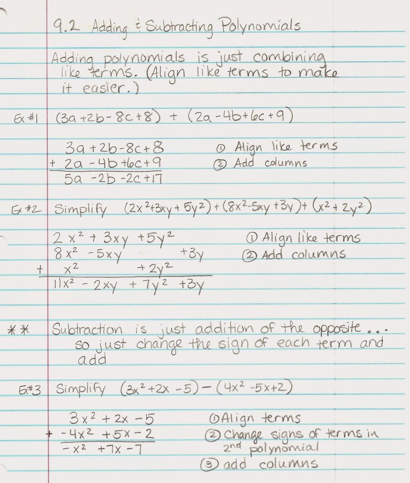 Algebra Alerts Algebra 1 And 2 Algebra 1 Lesson 9 2 Notes