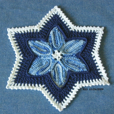 Blue White Star in Irish Crochet - By RSS Designs In Fiber - Sold on Etsy