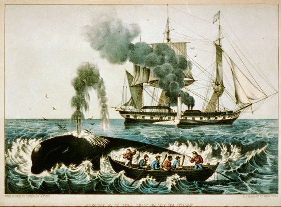 Currier and Ives illustration of whalers in New York. Oil Upon Troubled Waters. marchmatron.com