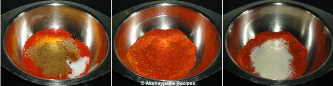 the masala powder combined to make paste