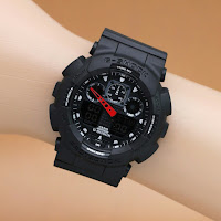 Jam G-Shock ga 100 full black hitam dualtime
