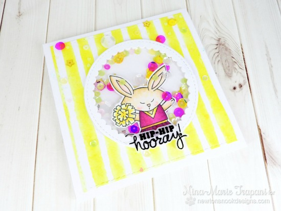 Hooray! Cheerleader Bunny card by Nina-Marie Trapani | Touchdown Tails Stamp set by Newton's Nook Designs #newtonsnook #bunny