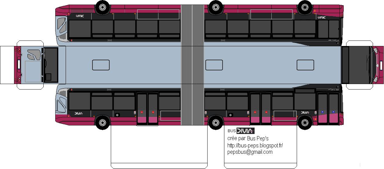 maquette papier bus divia bus du grand dijon. Black Bedroom Furniture Sets. Home Design Ideas