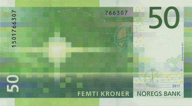 Norwegian currency money 50 Krone banknote 2018
