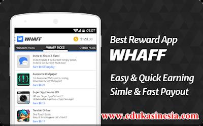 WHAFF REWARDS Aplikasi Android Penghasil Uang Dollar Terbaik,Termahal dan Terpercaya