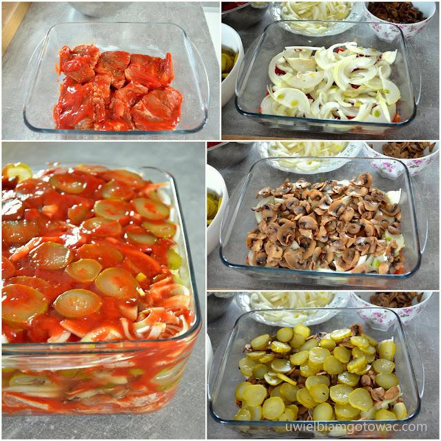 Karkówka z ogórkami konserwowymi, ketchupem i cebulką