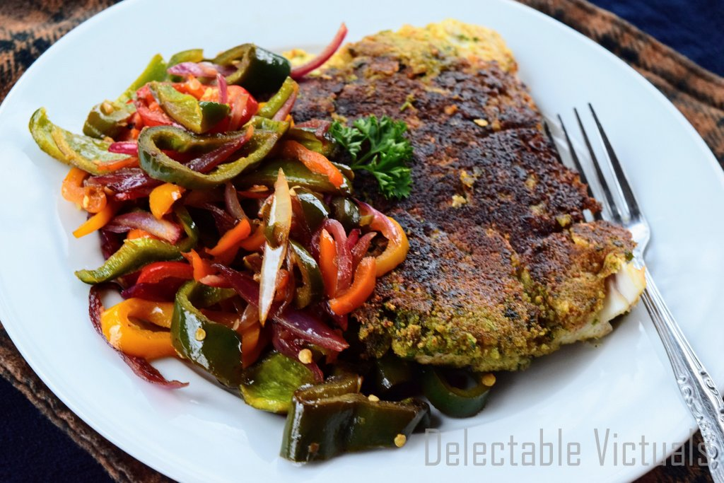 Breaded Halibut with Poblano Peppers and Colorful Sweet Peppers