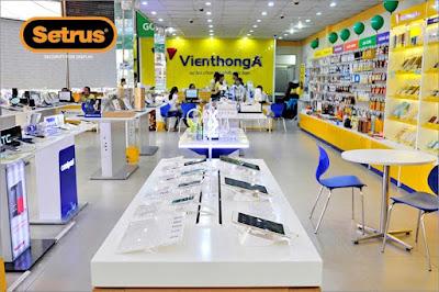 cửa hàng dùng thiết bị chống trộm laptop
