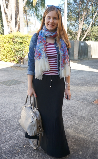 denim jacket, stripe tee, drawstring waist maxi skirt blanket scarf | Away From Blue