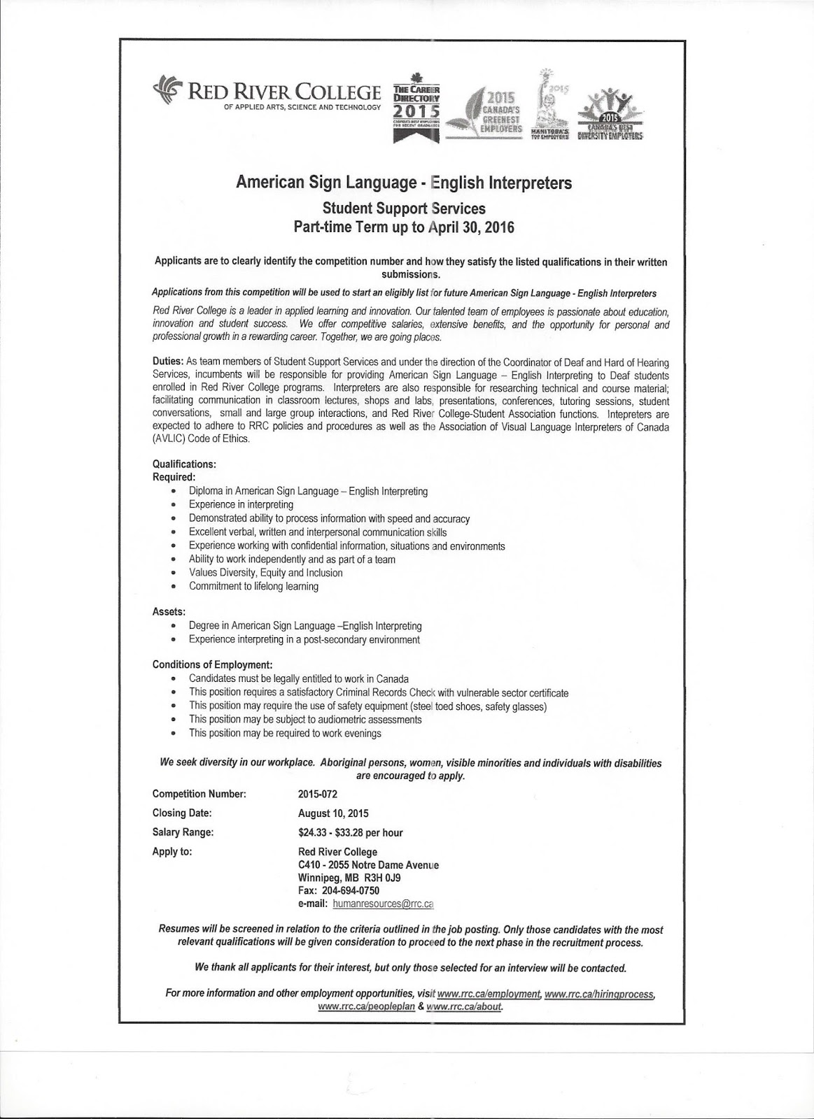 Deaf Centre Manitoba Inc English Interpreter Needed For Student Support Services At Red River College