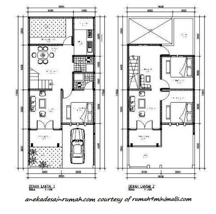 gambar denah rumah minimalis 2 lantai 1