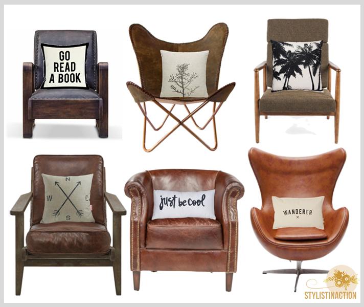 Deco estilo masculino - dia del padre - estilo industrial - nordico - retro - contemporaneo - sillones de cuero o textiles de colores oscuros - caracter y personalidad en la deco