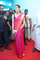 Kajal Aggarwal in Red Saree Sleeveless Black Blouse Choli at Santosham awards 2017 curtain raiser press meet 02.08.2017 002.JPG