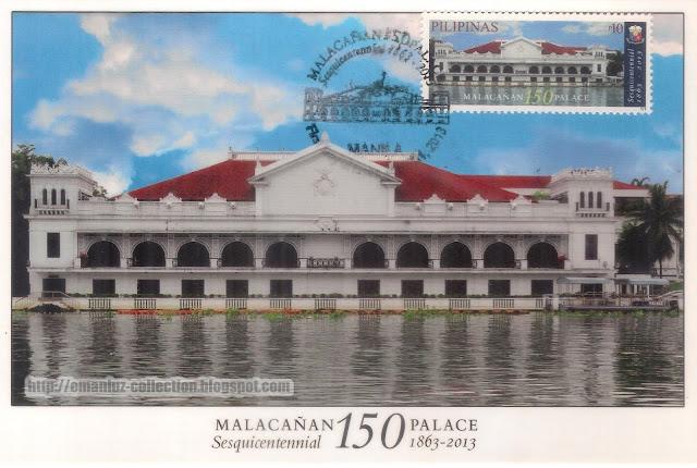 Maxicard   Malacañan Palace Postcard & Stamp ; Sesquicentennial (1863-2013)