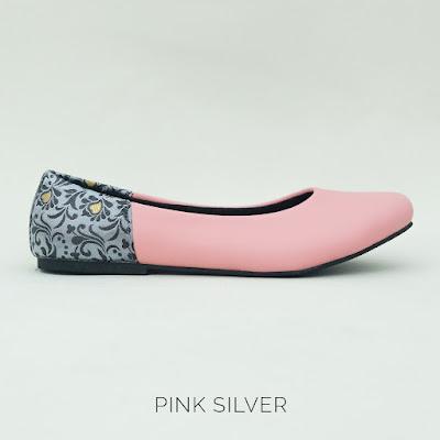 Sepatu The Warna: Pink Silver