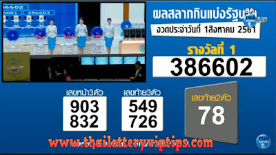 Thailand Lottery Results Today 01-08-2018 Live Online