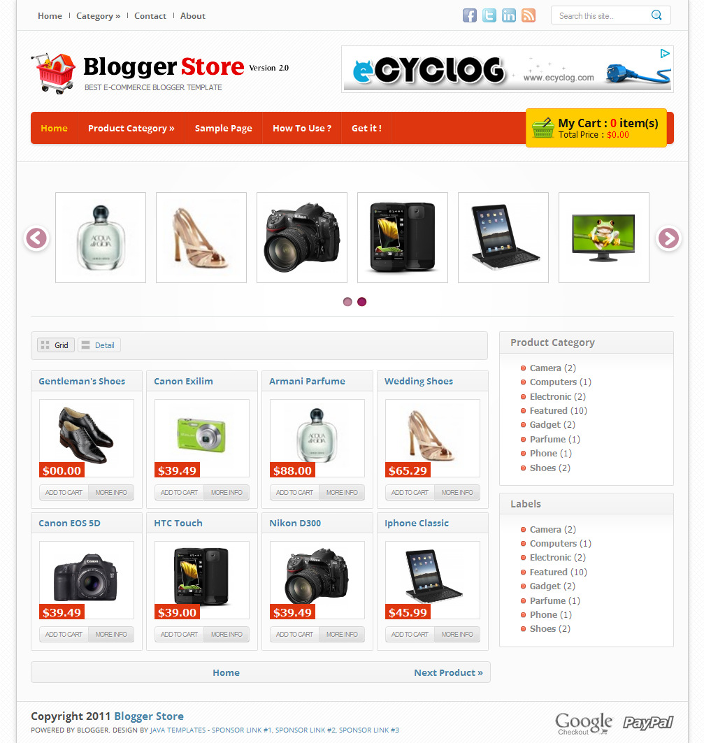 Blogger store v2 best online store blogger templates for Shopping cart template for blogger