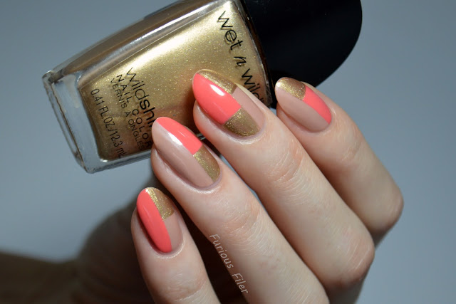 tutorial colour block nude freehand gold orange
