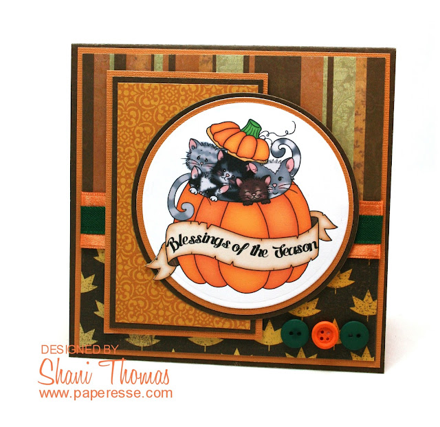Pumpkin Kitties Thanksgiving card featuring pre-colored image and sentiment from Imagine That Digistamp, by Paperesse.
