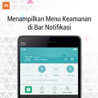 Menampilkan menu keamanan di bar notifikasi xiaomi