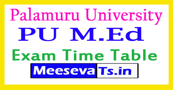 Palamuru University M.Ed 4th Sem Exam Time Table