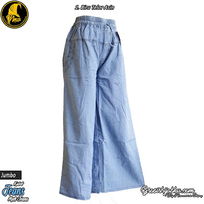 Celana Kulot jeans Size Jumbo Full Kareng Pinggang Tali