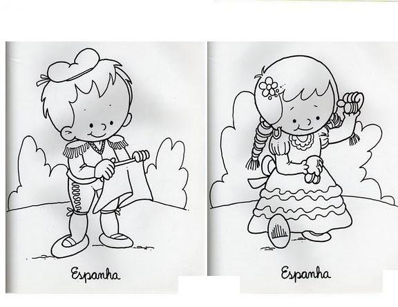 Dibujo De Nacionalidades Para Colorear: Mi Escuela Divertida: Niños De Diferentes Países Para
