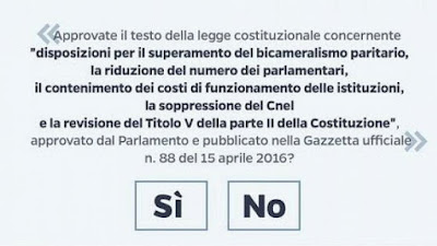 Scheda referendum costituzionale 4 dicembre 2016