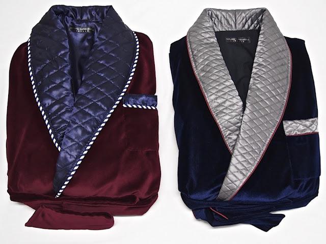 Mens velvet dressing gown smoking jacket robe quilted silk