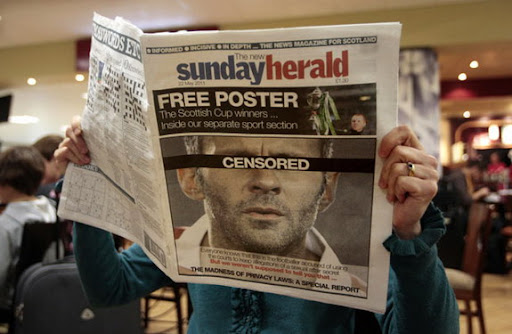 The Sunday Herald newspaper printed a barely disguised picture of Ryan Giggs on its front cover