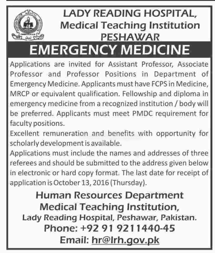 Madicine Jobs in Lady Reading Hospital Peshawar