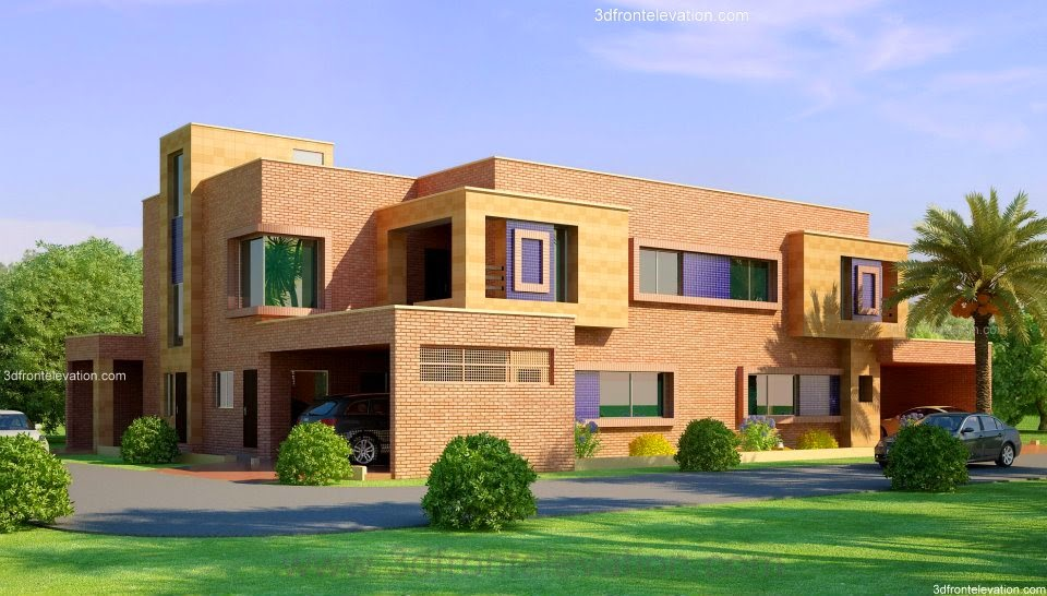bungalow house design in bangladesh 3d front elevation 1 kanal corner plot 2 house 476