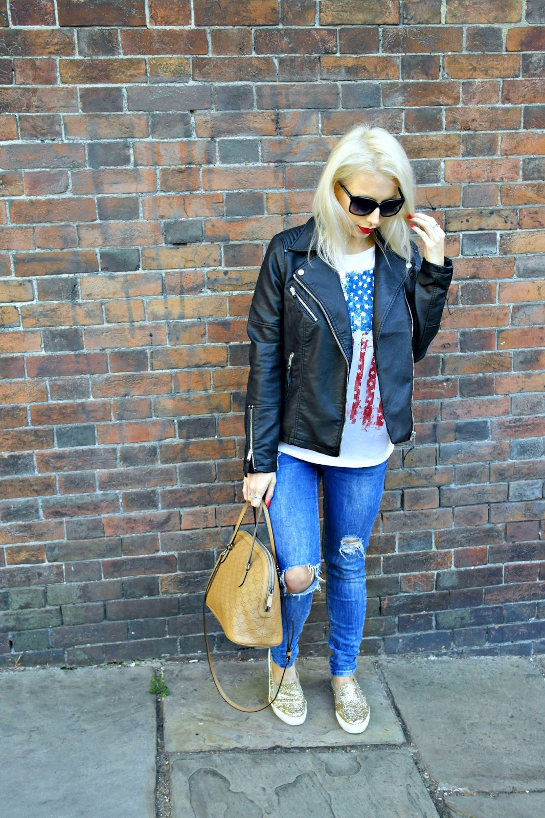 Faux leather jacket from Warehouse, gucci bag, ripped jeans