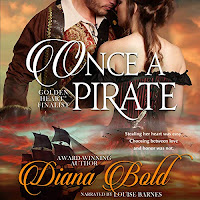Once A Pirate audiobook cover. A corseted woman with bare shoulders embraces a man in a pirate's jacket. A pirate ship sails into the sunset beneath.