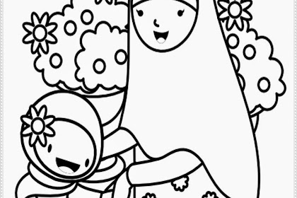 Mewarnai Gambar Anak Muslim Sekolah