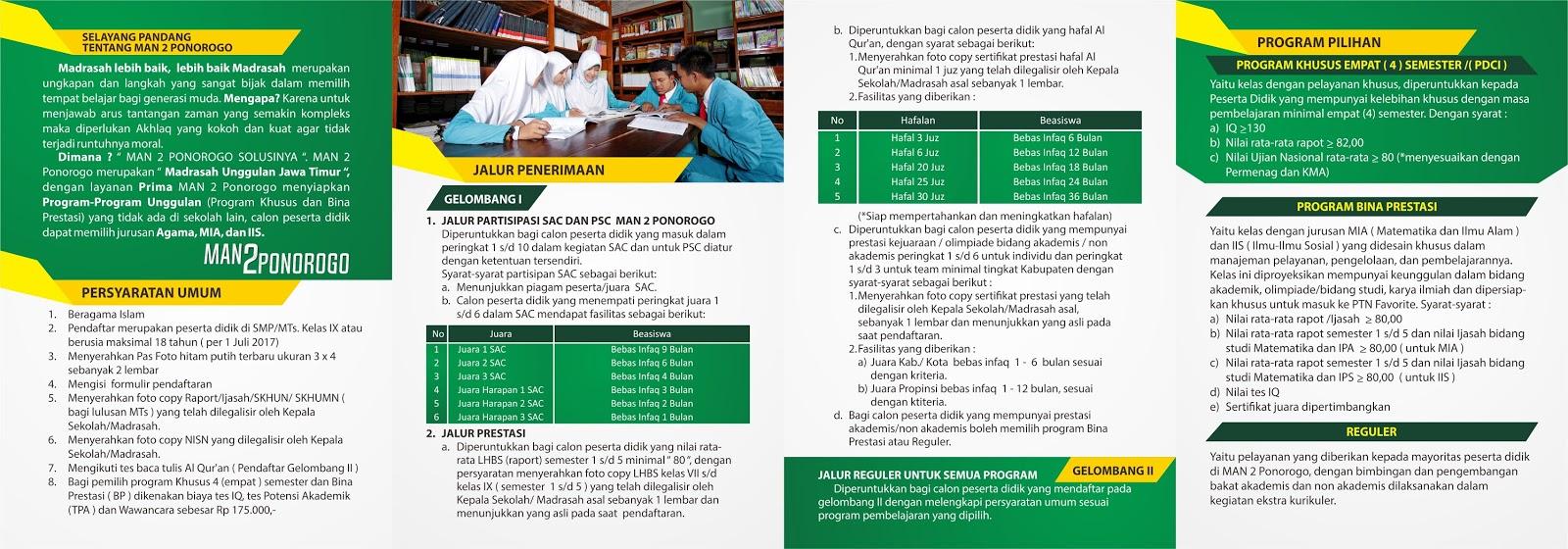 Informasi PPDB MAN 2 PONOROGO Tahun Ajaran 2017/2018
