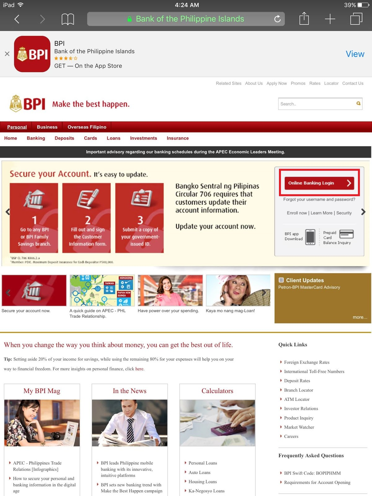 Bpi Express Online Home Page