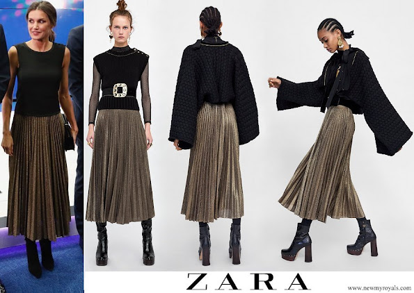 Queen Letizia wore Zara Pleated Metallic Midi Skirt