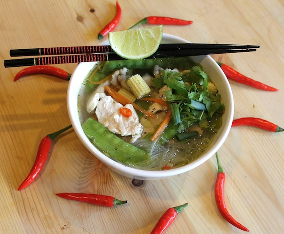 Food Lust People Love: Spicy Asian Chicken Noodle Soup is light and flavorful with a kick of chili that clears your head and warms your body.  Also, evidence may be merely anecdotal, I do believe that chicken soup is the best treatment for colds and coughs and general weariness of winter.